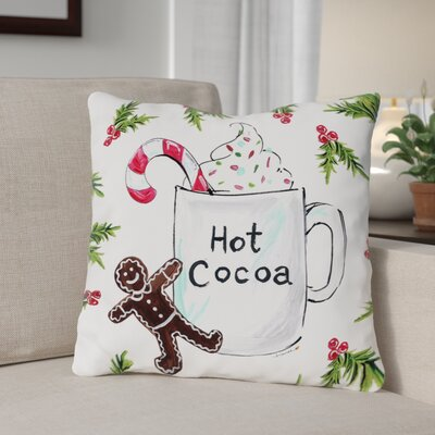 Hot Cocoa Throw Pillow Size: 16 x 16