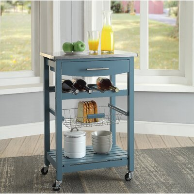 Haviland Kitchen Cart with Stainless Steel Top Base Finish: Blue