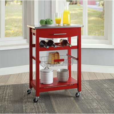 Haviland Kitchen Cart with Stainless Steel Top Base Finish: Red