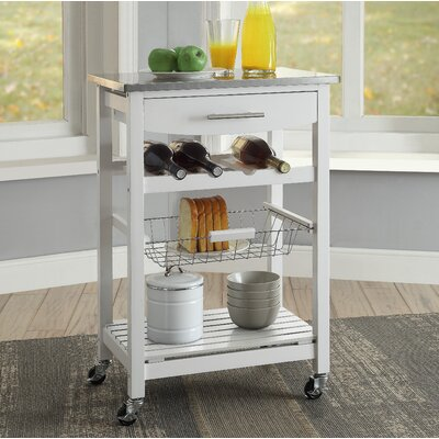 Haviland Kitchen Cart with Stainless Steel Top Base Finish: White