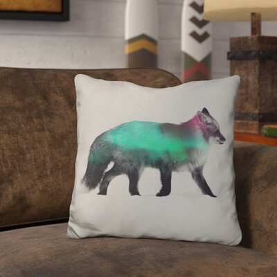 Lemanski Fox in the Aurora Borealis Throw Pillow