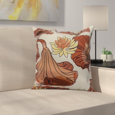 Meekins Floral Print Indoor/Outdoor Throw Pillow Color: Red Orange, Size: 16 x 16