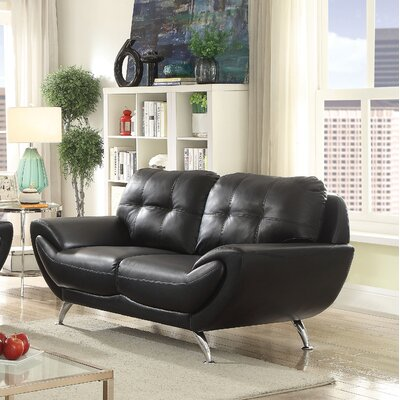 Diez Contemporary Loveseat Upholstery: Black