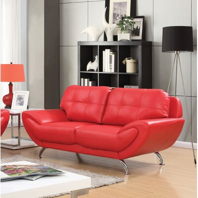 Diez Contemporary Loveseat Upholstery: Red