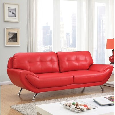 Diez Contemporary Sofa Upholstery: Red