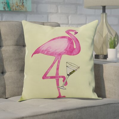 Crosswhite Single Flamingo Indoor/Outdoor Throw Pillow Color: Yellow, Size: 16 x 16