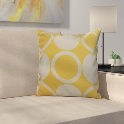 Meekins Mod Circles Geometric Print Indoor/Outdoor Throw Pillow Color: Yellow, Size: 18 x 18