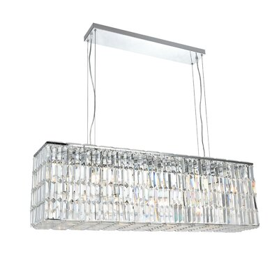 Langer 8-Light Kitchen Island Pendant Finish: Chrome, Crystal: Elegant-Cut