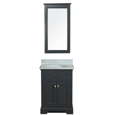 Coston 25 Single Bathroom Vanity Set with Mirror Base Finish: Gray