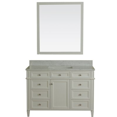 Costillo 42 Single Bathroom Vanity Set with Mirror Base Finish: Linen White