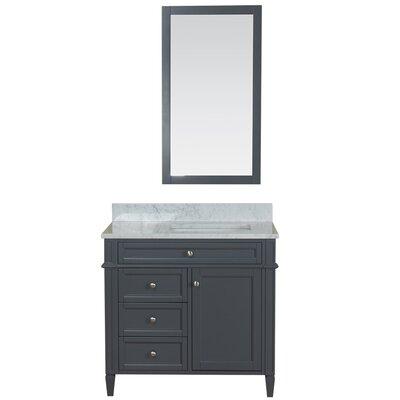 Costillo 36 Single Bathroom Vanity Set with Mirror Base Finish: Gray