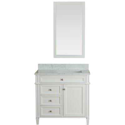 Costillo 36 Single Bathroom Vanity Set with Mirror Base Finish: Linen White