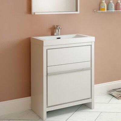 Garett Modern 24 Single Bathroom Vanity Set Base Finish: White