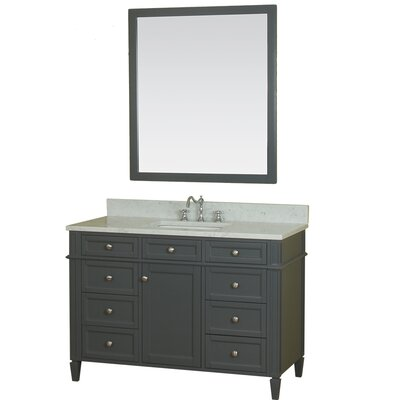 Costillo 48 Single Bathroom Vanity Set with Mirror Base Finish: Gray