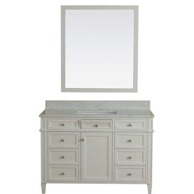 Costillo 48 Single Bathroom Vanity Set with Mirror Base Finish: Linen White