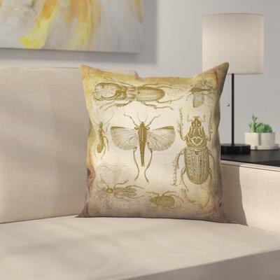 Beetle Vintage Throw Pillow Size: 16 x 16