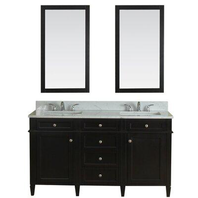 Costillo 60 Double Bathroom Vanity Set with Mirror Base Finish: Espresso