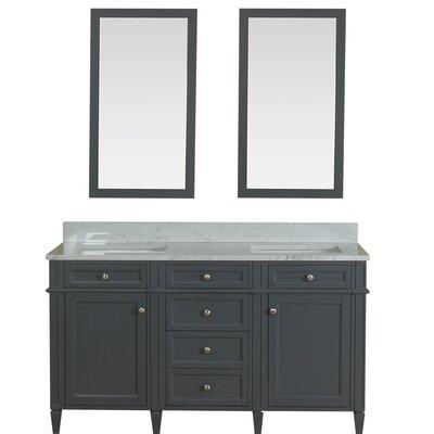 Costillo 60 Double Bathroom Vanity Set with Mirror Base Finish: Gray