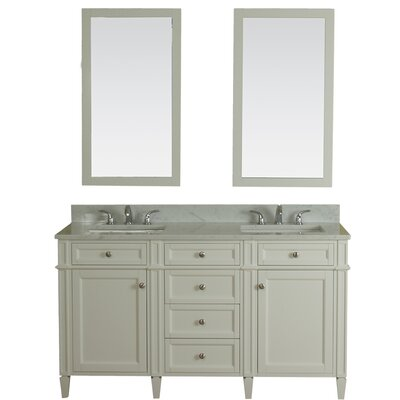 Costillo 60 Double Bathroom Vanity Set with Mirror Base Finish: Linen White