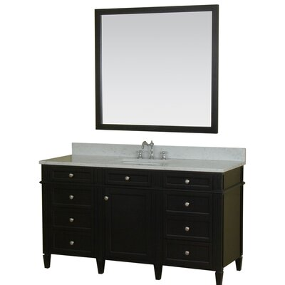 Costillo 60 Single Bathroom Vanity Set with Mirror Base Finish: Espresso