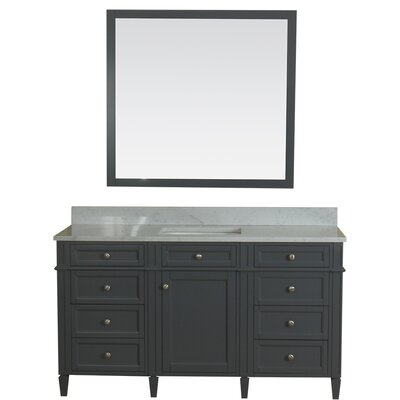 Costillo 60 Single Bathroom Vanity Set with Mirror Base Finish: Gray