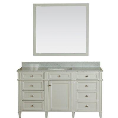 Costillo 60 Single Bathroom Vanity Set with Mirror Base Finish: Linen White