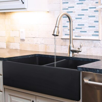 Vineyard 33 x 18 Double Basin Farmhouse Kitchen Sink Finish: Matte Black