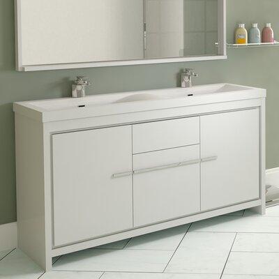 Garett Modern 57 Double Bathroom Vanity Set Base Finish: White