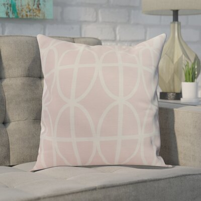 Crosswhite Ovals and Stripes Geometric Print Indoor/Outdoor Throw Pillow Color: Pink, Size: 16 x 16