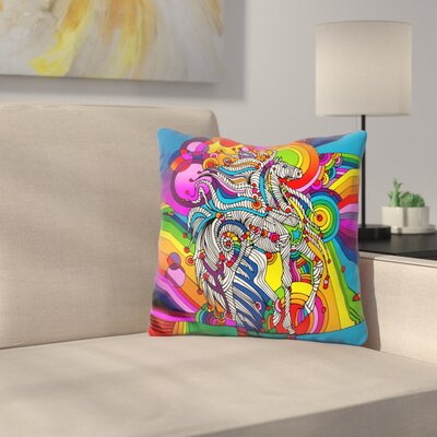 Mustang Throw Pillow Color: Blue/Yellow