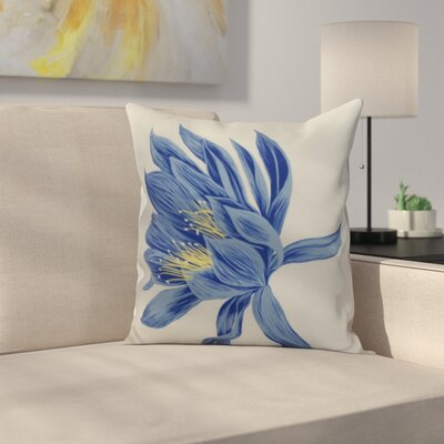 Meekins Floral Print Indoor/Outdoor Throw Pillow Color: Royal Blue, Size: 16 x 16