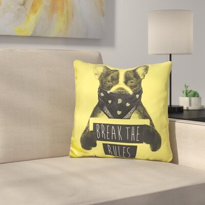 Dog Throw Pillow Color: Yellow