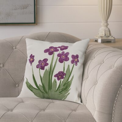 Kaylor Pretty Little Flower Indoor/Outdoor Throw Pillow Color: Purple, Size: 16 x 16