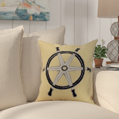 Crider Ship Wheel Geometric Print Indoor/Outdoor Throw Pillow Color: Yellow, Size: 18 x 18