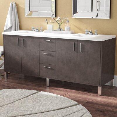 Cordie 72 Double American Walnut Wood Base Bathroom Vanity Set Base Finish: Silver Oak