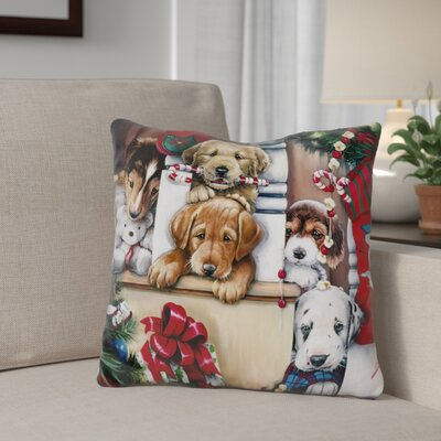 Berkey Christmas Cuties Throw Pillow Color: Brown/Red