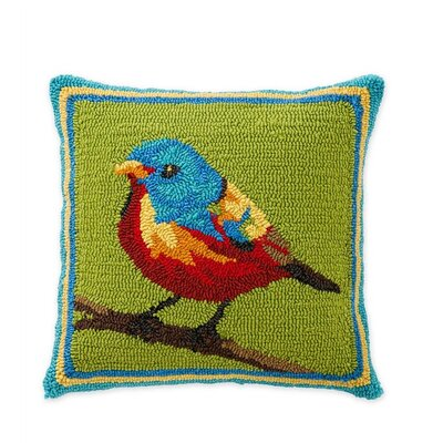 Painted Bunting Hooked Indoor/Outdoor Throw Pillow