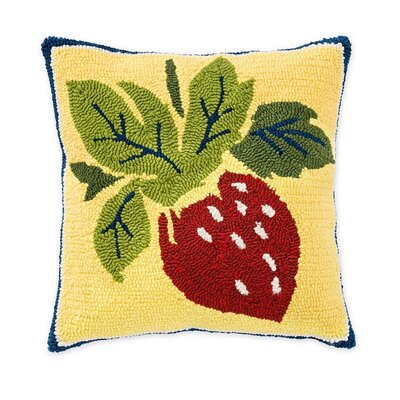 Strawberry Hooked Indoor/Outdoor Throw Pillow
