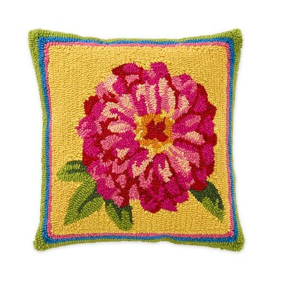 Zinnia Hooked Indoor/Outdoor Throw Pillow