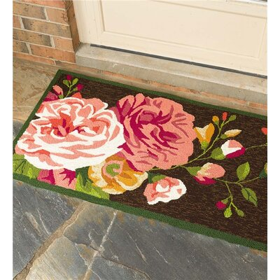 Peonies Hand Hooked Pink/Chocolate Indoor/Outdoor Area Rug