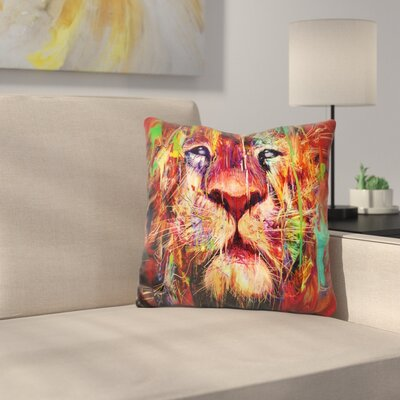 Lion Throw Pillow Color: Yellow