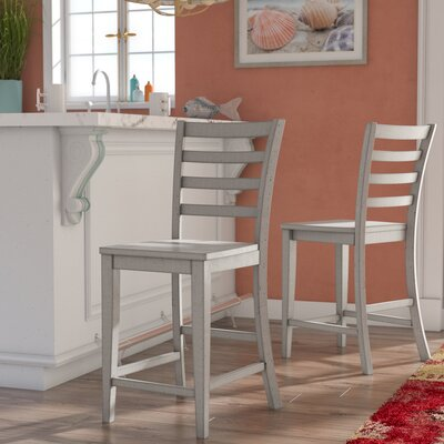 Rutledge Ladderback 24 Barstool (Set of 2) Finish: Gray