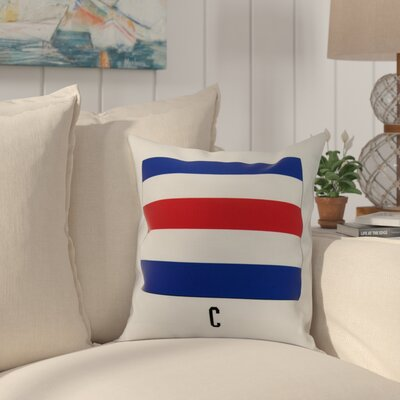 Cayer C Letter Simple Outlined Geometric Print Indoor/Outdoor Throw Pillow Size: 20 x 20