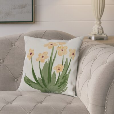 Kaylor Pretty Little Flower Indoor/Outdoor Throw Pillow Color: Yellow, Size: 16 x 16