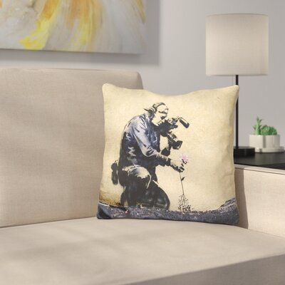 Camera Man and Flower Throw Pillow