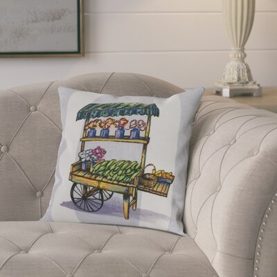 Kaylor Veggie Cart Indoor/Outdoor Throw Pillow Color: Light Purple, Size: 20 x 20