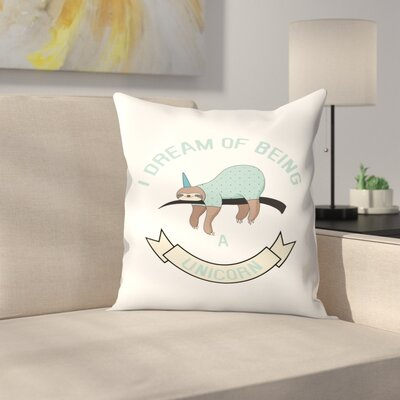 Sloth Unicorn Throw Pillow Size: 16 x 16