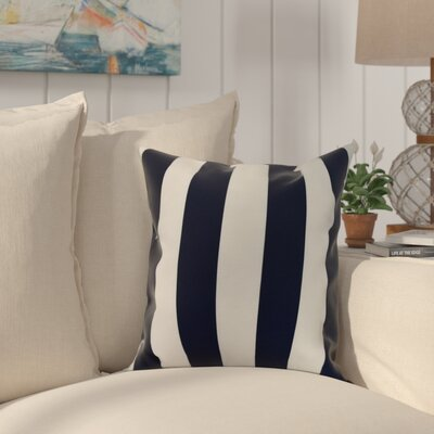 Crider Stripe Print Indoor/Outdoor Throw Pillow Color: Navy, Size: 18 x 18