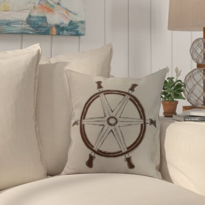Crider Ship Wheel Geometric Print Indoor/Outdoor Throw Pillow Color: Ivory, Size: 18 x 18