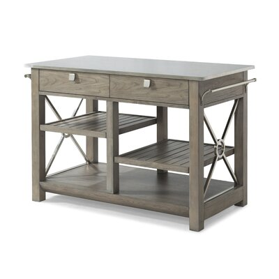 Music City Here Comes Temptation Kitchen Island with Stainless Steal Top Base Finish: Stone